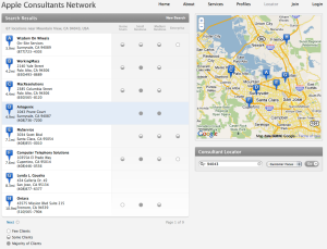 A screenshot of Apple's Consultant Locator, showing a map with pins marking the location of nearby consultants.