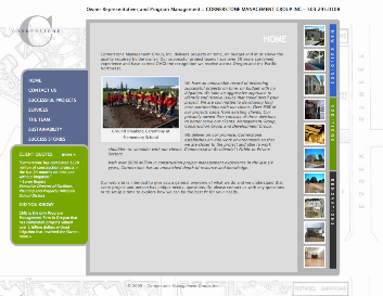 A screenshot of Cornerstone Management's home page, featuring a photo of workers on a construction site.
