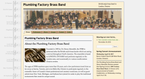 A screenshot of the Plumbing Factory Brass Band's website, featuring a large photograph of the band and a picture of an antique baritone horn.