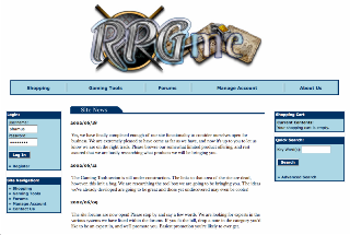 A screenshot of the RPGme online store as it appeared in 2002.