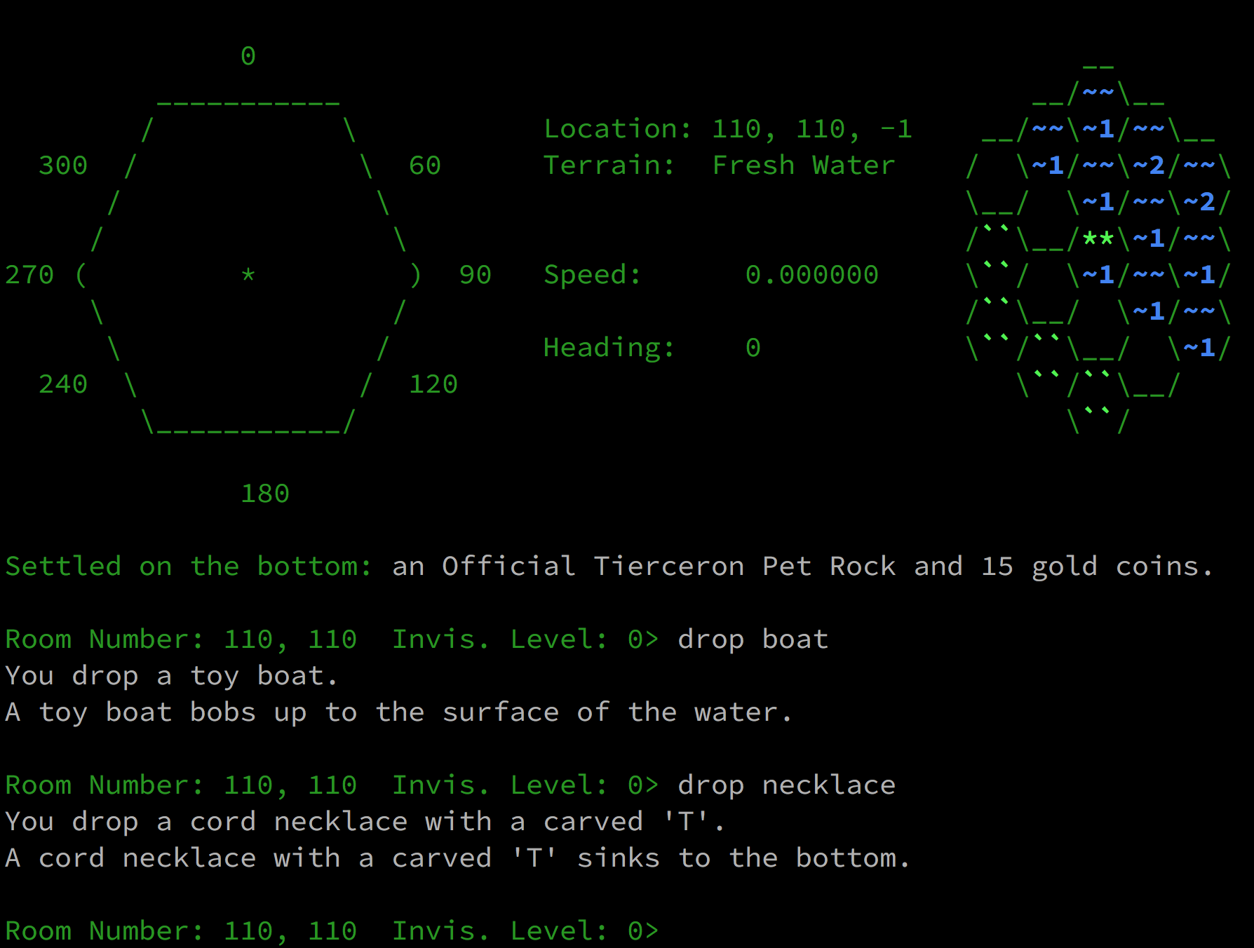 Screenshot of Covenant MUD gameplay. A toy boat is dropped into the water and floats. A necklace is dropped into the water and settles on the bottom.
