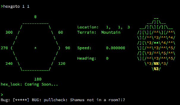 Screenshot of a Covenant MUD runtime error message: 'BUG: pullcheck: Shamus not in a room?!?'